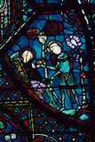Baudoin Tends the Dying Roland, Stained Glass, Chartres Cathedral, France, 1194-1260