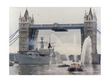 View of HMS London Sailing Beneath Tower Bridge, London, 1988
