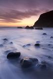 Twilight on the Beach at Duckpool on the North Cornish Coastline, Cornwall, England. Spring