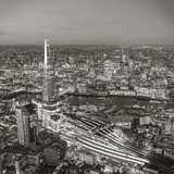 Night Aerial View of the Shard and City of London, London, England