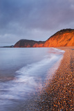 Burning Red Cliffs at Sidmouth on the Jurassic Coast, Devon, England. Winter