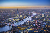 Night Aerial View of the Shard, River Thames, Tower Bridge and City of London, London, England