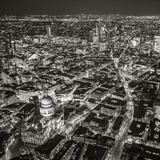 Night Aerial View of St. Paul's and City of London, London, England