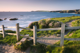 Wooden Stile on Clifftops, South West Coast Path Long Distance Footpath, Cornwall