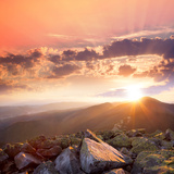 Sunset in the Mountains Landscape. Dramatic Sky, Colorful Stone