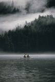 Couple Sea Kayaking in Red Bluff Bay with Mist Rolling Off Baranof Isl Chatham Strait Southeast Alaska