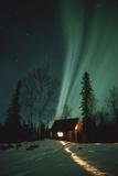Northern Lights over Cabin Scotty Lk Petersville Rd Ak Winter Snow