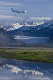 Jet Approaches for a Landing at the Juneau International Airport with Mendenhall Glacier and Towers