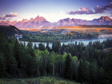 View from the Snake River Overlook with the Teton Range in the Distance at Sunrise