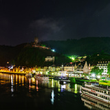 Scenic View of the Moselle River and Cochem at Night