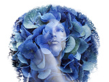 Double Exposure Portrait Afrian Woman with a Flowers. Beauty Con