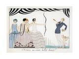 Visez Au Coeur, Belles Dames!, by H. Reidel, 1924 (Pochoir Print)