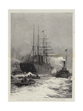 Off to the Antipodes, a P and O Steamer Going Down the Thames