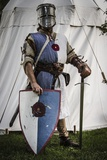 Historical Reenactment: Knight from Northern Italy with Great Helm, Sword and Shield, 13th Century
