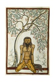 Indian Holy Man in Yoga Position, Miniature from Book of Mughal, India, 17th Century