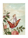 Fairy Riding a Butterfly Among Roses, 1882