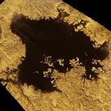 Saturn's Moon Titan with Liquid Methane on it's Surface