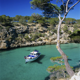 Boat Anchored in Rocky Inlet, Cala Pi, Mallorca, Balearic Islands, Spain, Mediterranean