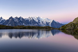 Mont Blanc Reflected During Twilight in Lac Des Cheserys, Haute Savoie, French Alps, France