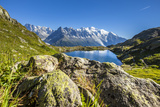Mont Blanc Range Seen from Lac Des Cheserys, Aiguille Vert, Haute Savoie, French Alps, France