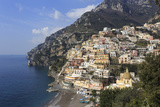 Elevated View of Positano Beach and Cliffs, Costiera Amalfitana (Amalfi Coast), Campania, Italy