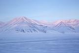View Towards Dirigenten Mountain and Tenoren across Adventdalen Valley at Sunset