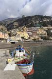 Fishing Boat at Quayside and Positano Town, Costiera Amalfitana (Amalfi Coast), Campania, Italy