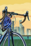 Bicycle and City Lithography Style
