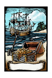 Pirates with Scroll - Scratchboard