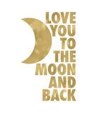 Love You Moon Back Golden White