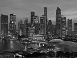 Singapore, Singapore Skyline Financial District Illuminated at Dusk, Asia