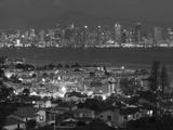 California, San Diego, City and Shelter Island Yacht Basin from Point Loma, Dusk, USA