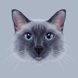 Illustrative Portrait of a Thai Cat. Cute Blue Point Traditional Siamese Cat.