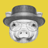 Portrait of Piggy with Gas Mask. Hand Drawn Illustration.