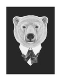 Portrait of Polar Bear in Suit. Hand Drawn Illustration.