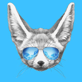 Portrait of Fennec Fox with Mirror Sunglasses. Hand Drawn Illustration.