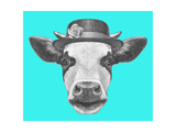 Portrait of Cow with Hat. Hand Drawn Illustration.