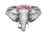 Portrait of Elephant with Floral Head Wreath. Hand Drawn Illustration.