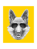 Portrait of German Shepherd with Sunglasses. Hand Drawn Illustration.