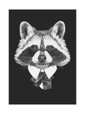 Portrait of Raccoon in Suit. Hand Drawn Illustration.