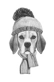 Portrait of Beagle Dog with Scarf and Hat. Hand Drawn Illustration.