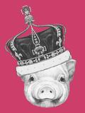 Portrait of Piggy. Hand Drawn Illustration.