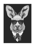Portrait of Kangaroo in Suit. Hand Drawn Illustration.