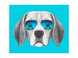 Portrait of Beagle Dog with Mirror Sunglasses. Hand Drawn Illustration.