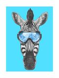 Portrait of Zebra with Ski Goggles. Hand Drawn Illustration.