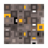 Geometric Abstract City Squares in Grey and Yellow