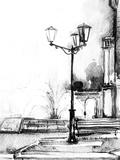 Street. Watercolor Illustration