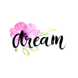 Dream - Inspirational Word at Pastel Violet Background, Typography for Poster, T-Shirt or Card. Vec