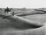 Men with Camel Traveling the Sahara Desert