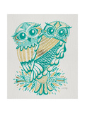 Owls in Turquoise and Gold